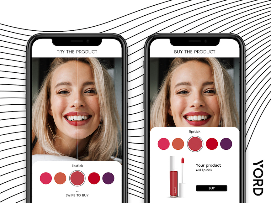 Virtual Shopping solution. Girl is trying different lipsticks. Augmented Reality in Online Shopping.